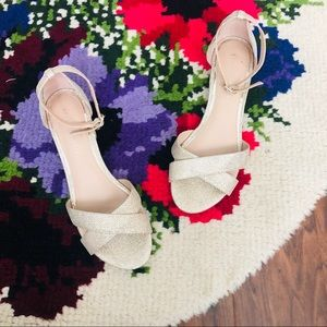 Kelly & Katie Gold Ankle Strap Block Heels